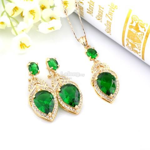 Austrian Gold-plated Earrings And Necklace Jewelry Set