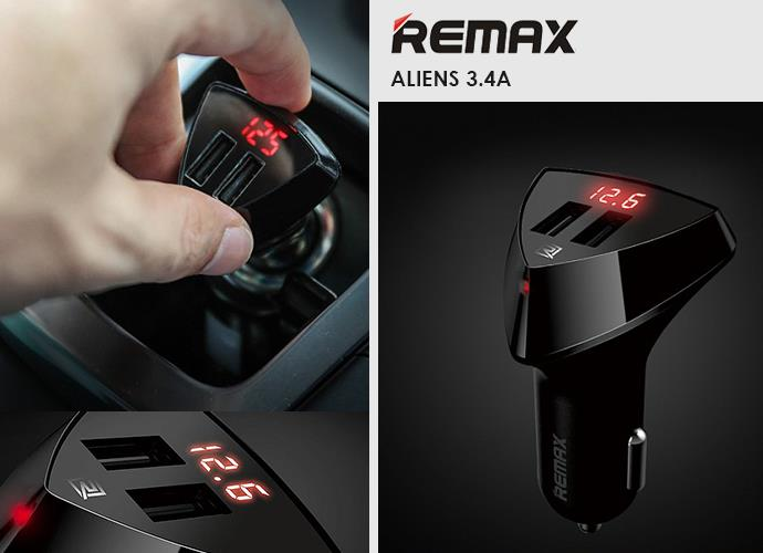 Authentic REMAX RCC-208 Alien Dual USB Car Charger ~Voltage Indicator