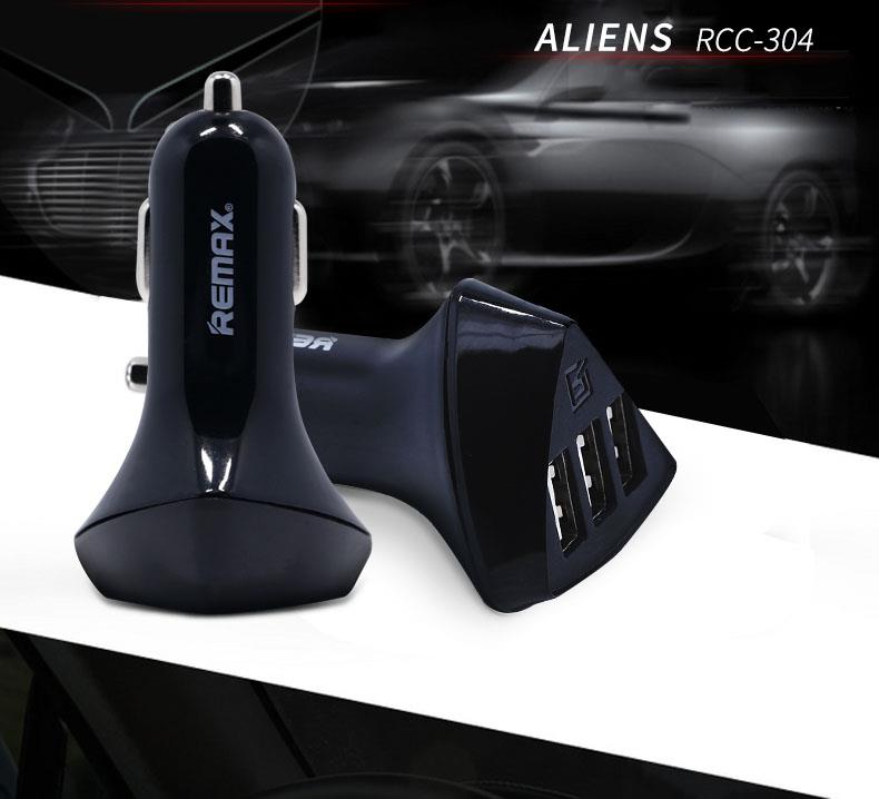 Authentic REMAX RCC-304 Alien 3x USB Port Car Charger iPhone X 8 Plus