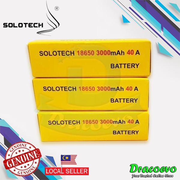 Authentic Solotech IMR 18650 3000mAh 40A High Drain Rechargeable Batte