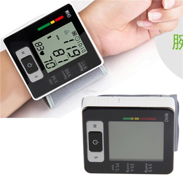 Automatic Digital Wrist Blood Pressure Upper Monitor Heart Meter LCD S