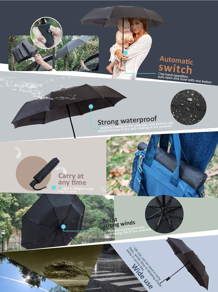 7f32fa41befe Automatic Windproof Umbrella Men Rain Women Travel Folding Open Close