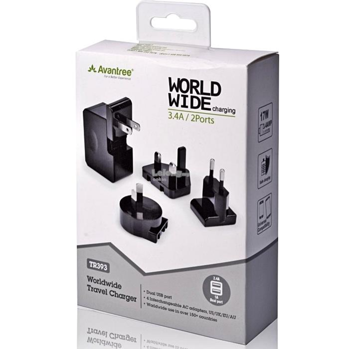 Avantree 3.4A Dual USB Multi Plug Travel Charger - TR393