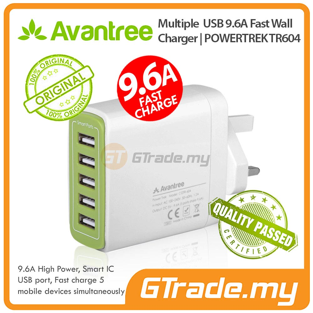 AVANTREE 5 USB Charger 9.6A Fast Charge Samsung Galaxy S8 S7 S6 Edge
