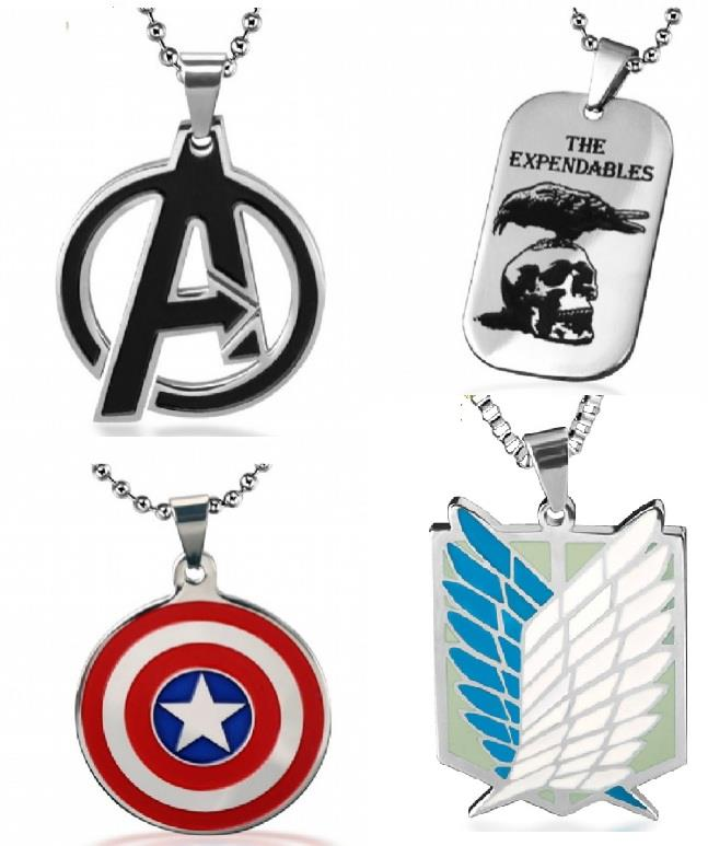 Avenger Captain America Attack on Titan Expandables Pendant Necklace
