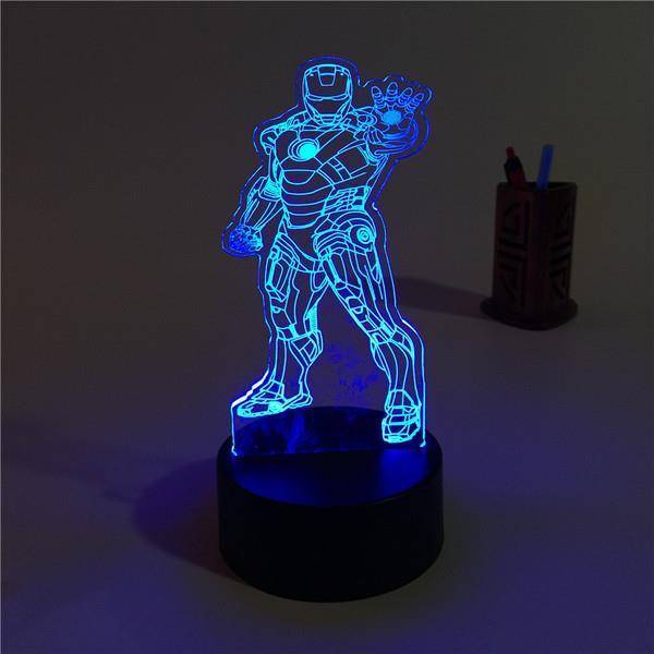 Avengers Children Kid Boys Room Decoration Light Lamp Iron Man Captain