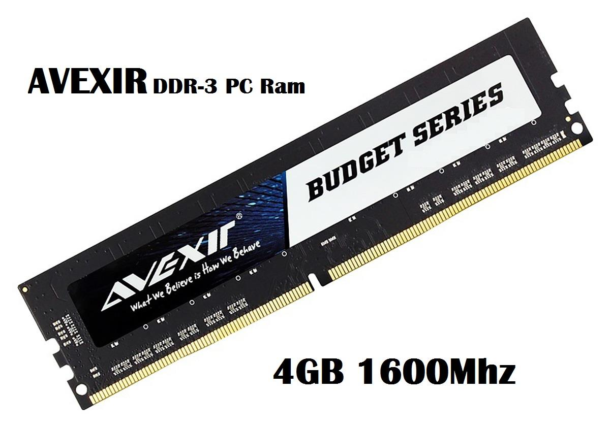 Avexir Budget Series 4GB DDR3-1600Mhz 240-Pin Desktop PC Ram Memory