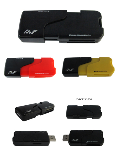 AVF ALL IN 1 USB 2.0 CARD READER (ACR718) YEL/RD/BLK
