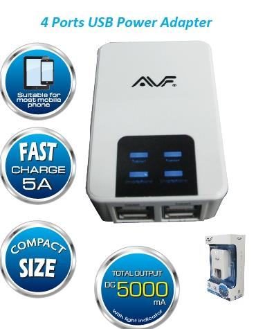 AVF 4-Port USB Power Adapter (Max 5000mAH) AUTA09