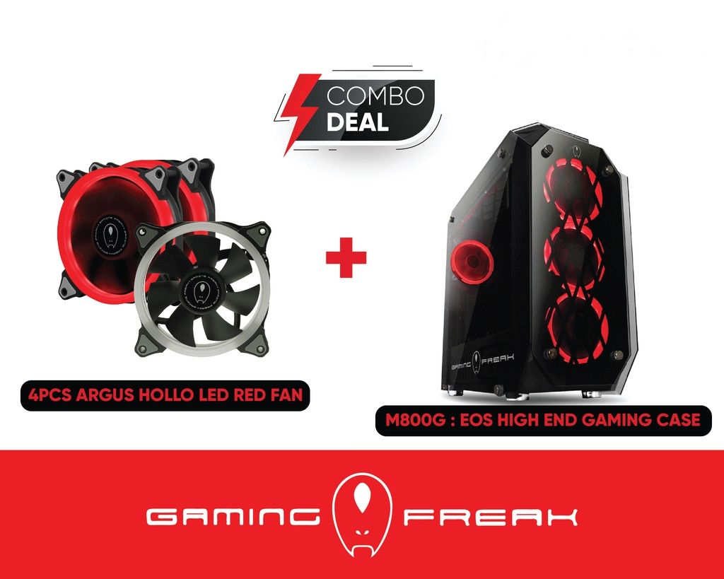 AVF GAMING FREAK EOS M800G HIGH END GAMING CASE WITH 4PCS HOLLO RED LED Ring F