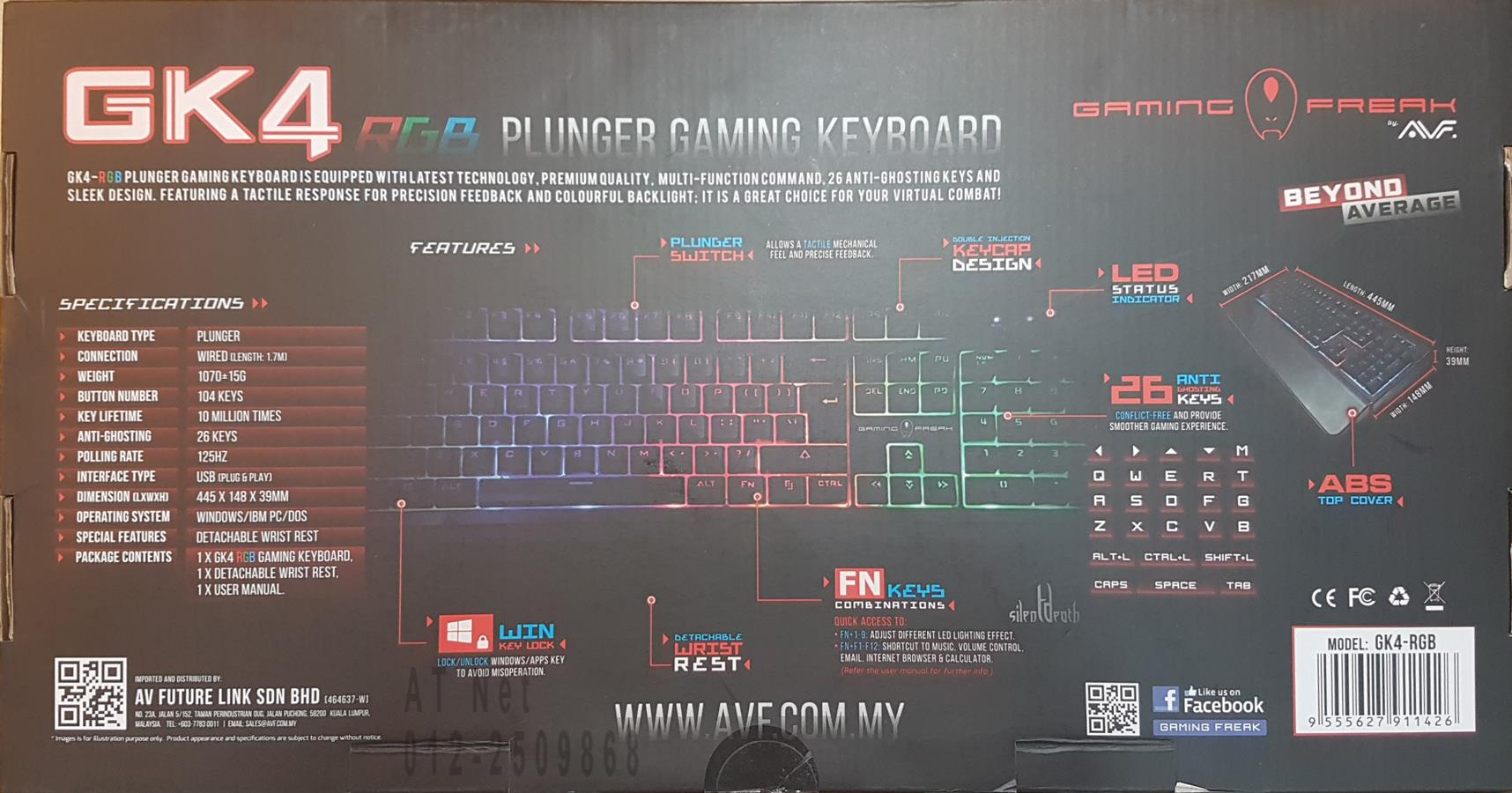 AVF GAMING FREAK RGB GAMING KEYBOARD GK4-RGB