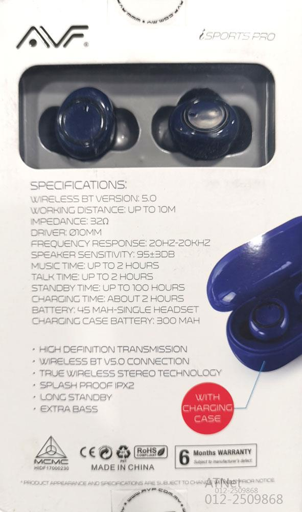 AVF HBT-DUOW9 WIRELESS EARPHONE TRUW WIRELESS TECHNOLOGY BLUE