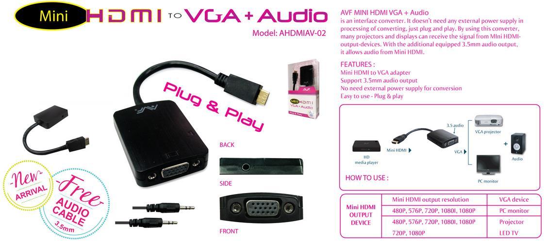 AVF Mini HDMI To VGA + Audio Adapter - AHDMIAV02