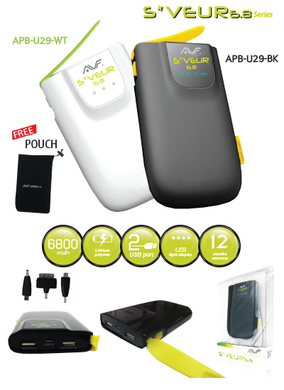 AVF S*VEUR 6800MAH DUAL 1A 2.1A POWER BANK -BLK/WHT