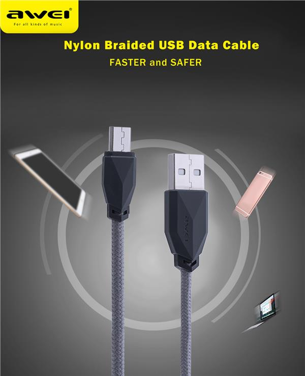 Awei CL - 982 1M Universal Nylon Braided Micro USB Data Charging Cable