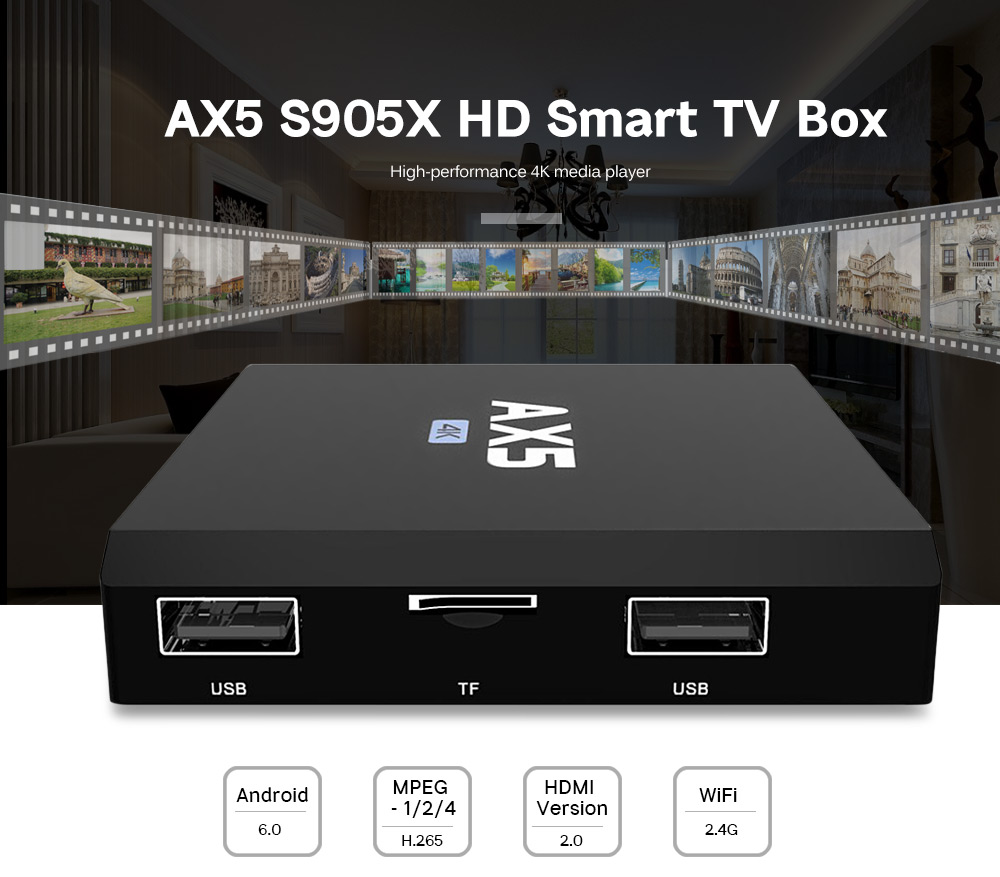 AX5 S905X 4K HD Set Top WiFi Smart TV Box Media Player
