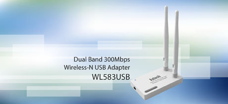 AZTECH WIFI N 300MBPS DUAL BAND USB ADAPTER WITH ANTENNA (WL583USB)