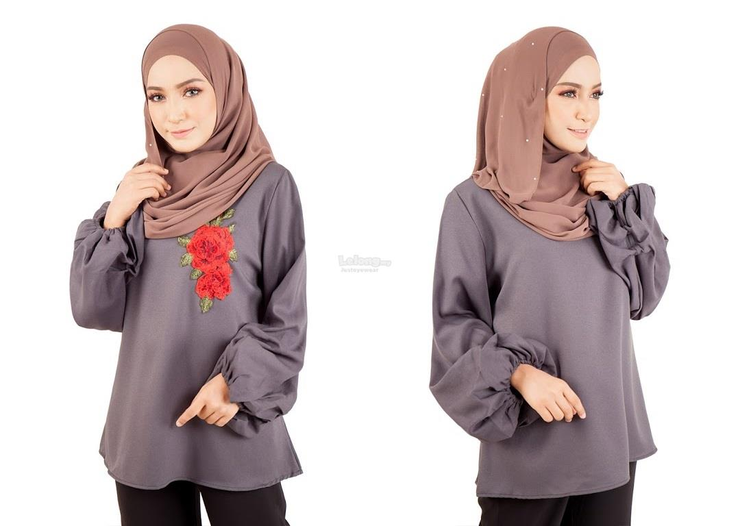 B-39Rev8 Women Floral Embroidery Blouse Grey
