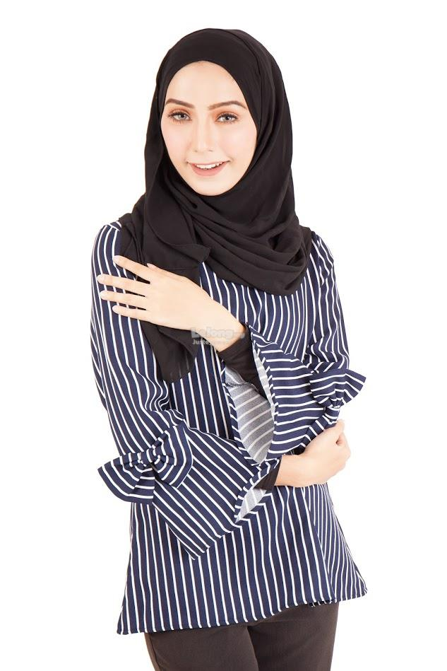 B-40Rev1 Muslimah Striped Blouse Navy Blue