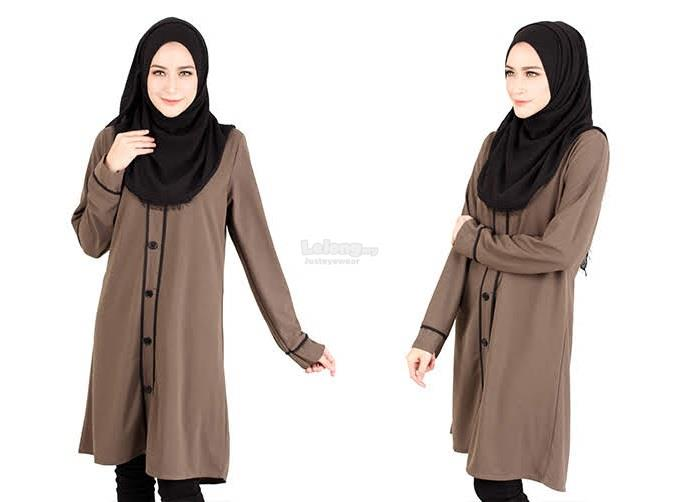 B-41Rev7 Button Muslimah Long Top Coffee