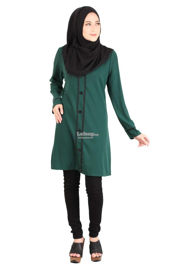 B-41Rev7 Button Muslimah Long Top Green