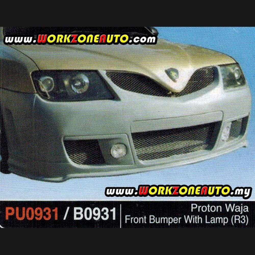 B0931 Proton Waja Fiber Front Bumper With Signal Lamp (R3) on