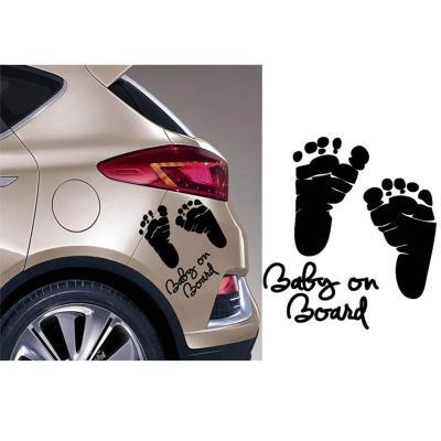 Baby on board word baby car stickers vinyl decal waterproof footprint