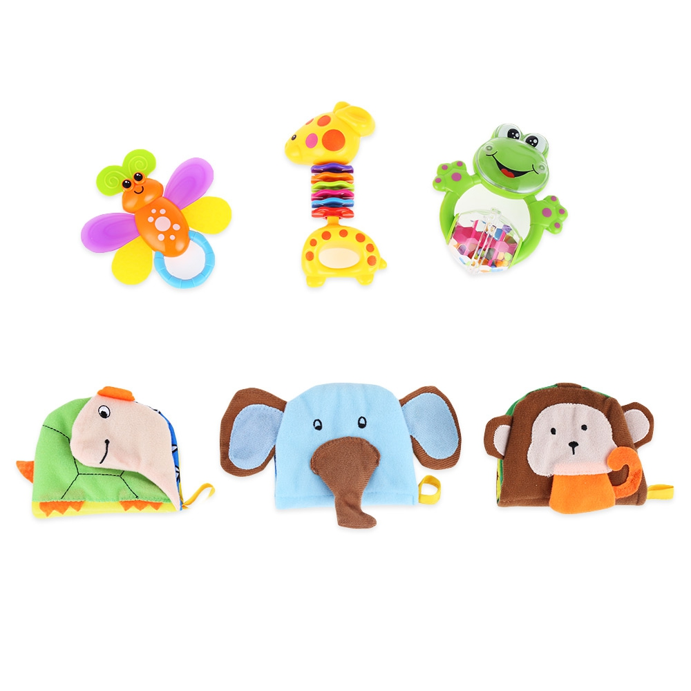 BABY CLOTH BOOK HAND BELL RATTLE EDUCATIONAL TOY (COLORMIX)