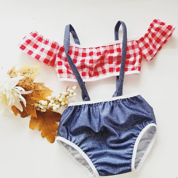 Baby Clothing Swimwear Girls Two Piece Swimsuit Cute Off Shoulder Beac