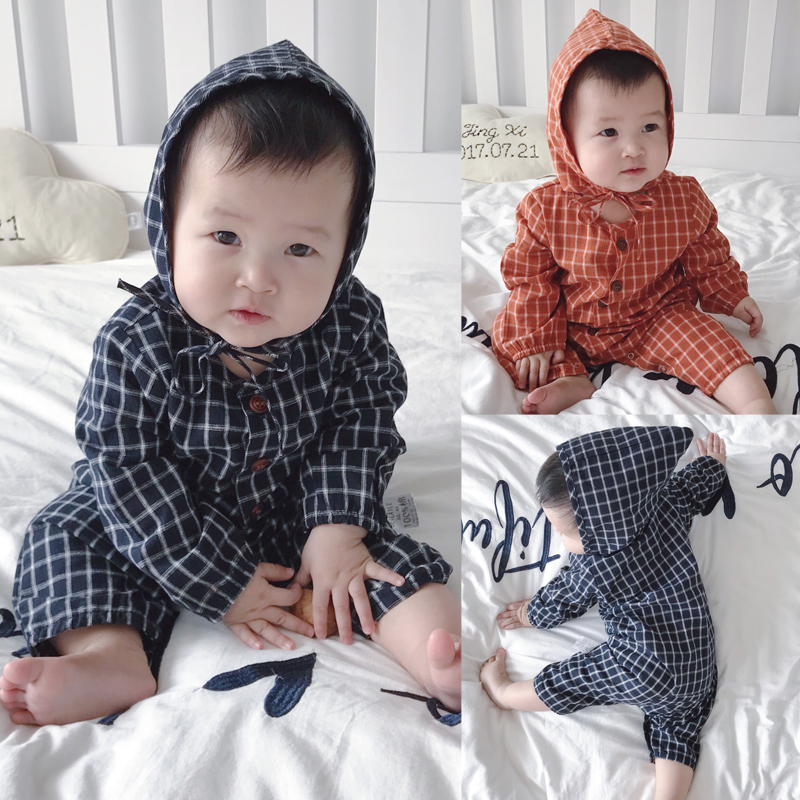 Baby Clothing Winter Wear Checkered Romper Newborn Long Sleeve Cotton