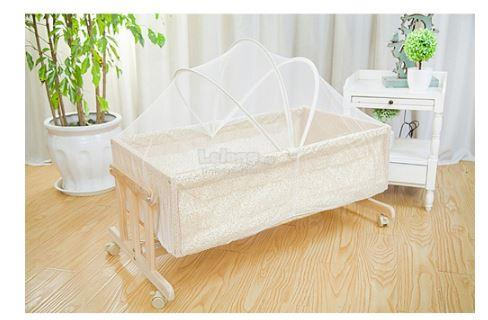Baby Cradle Rocking Crib Wooden Newborn Bassinet Bed Yellow Flower