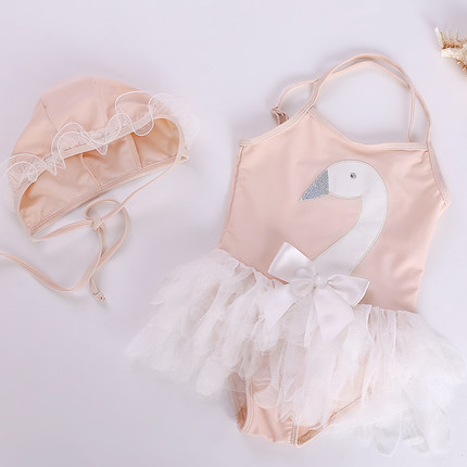 Baby Girl Cute Peach Swan with Swimming Cap Once Piece Swimsuit Swimwe