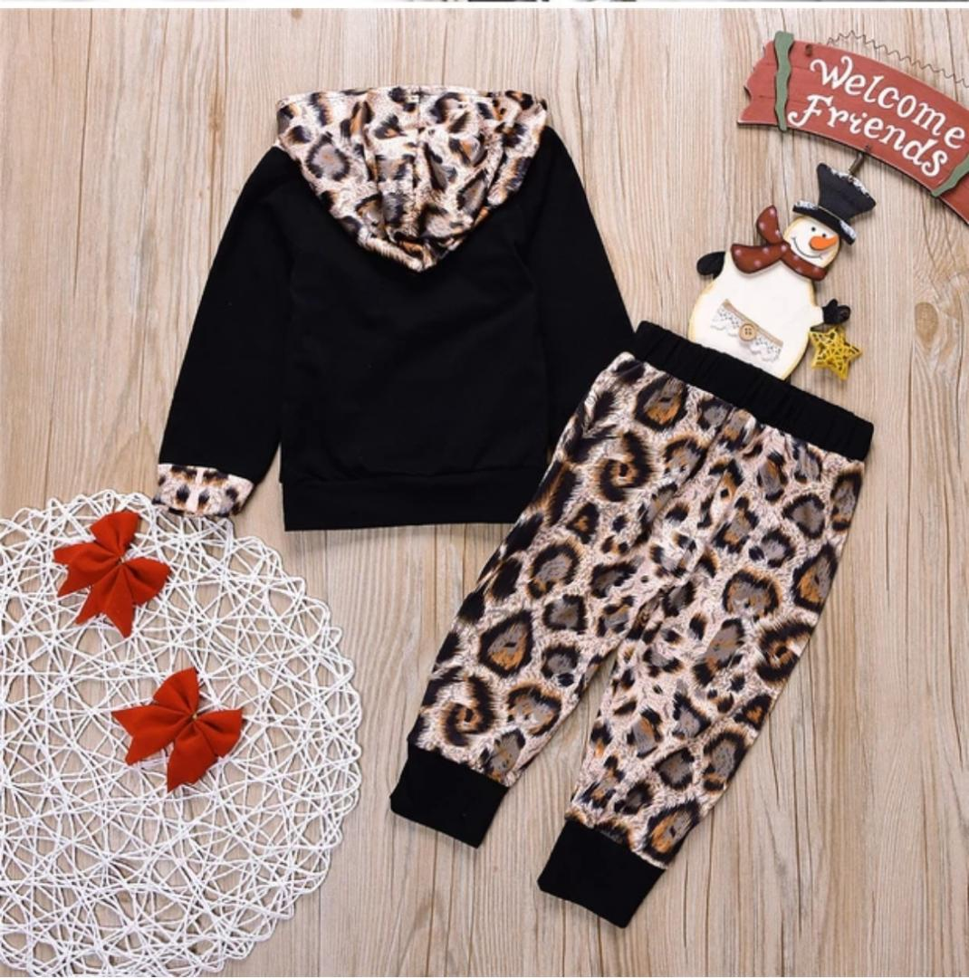 587a5bc159d8 Baby Girl Leopard print Hoodie Tops+Pants 2Pcs Outfits Clothes Set