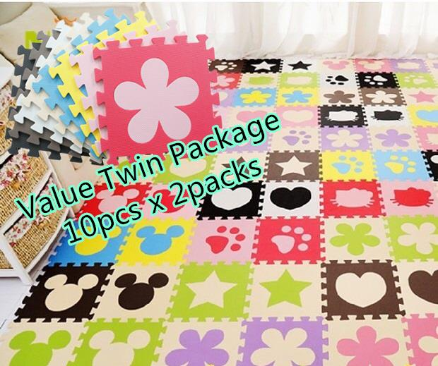Baby Infant Safety EVA Play Mat 30x30cm (10pcs x 2packs) *Random Mix*