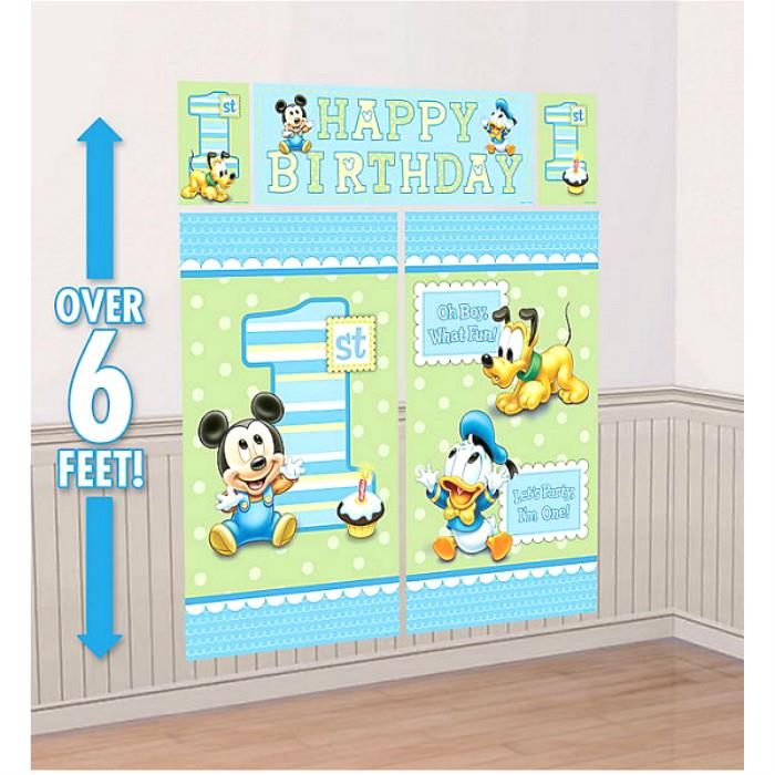 Baby Mickey Mouse Scene Setter Happy Birthday 6ft FREE GLUE DOTS