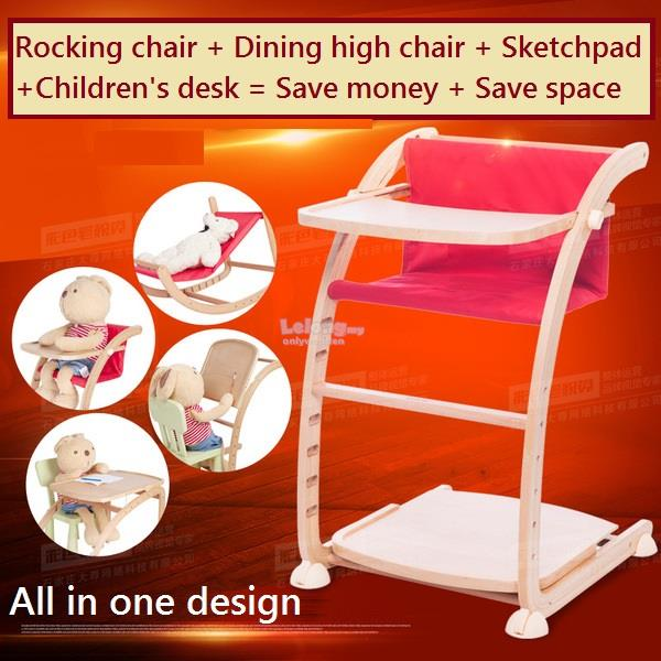 Baby Rocking Chair, Kids High Chair, Children Study Desk, All-in-one