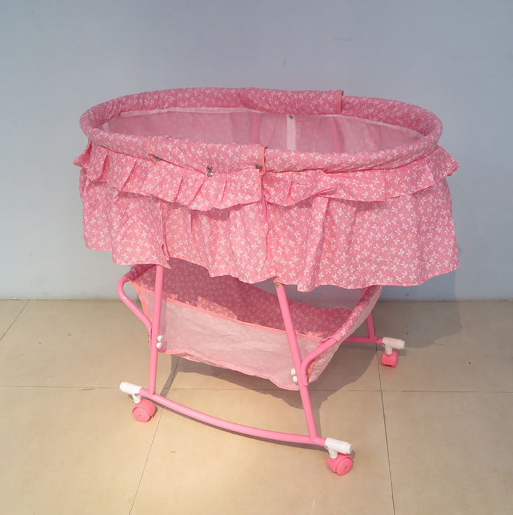 Baby Rocking Cradle Bed With Wheel And Pillow Cradle Artifact #9731
