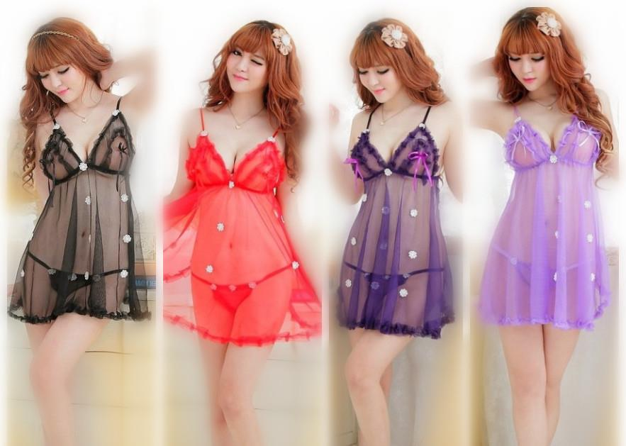 ac4d1bd60 See Through Babydoll Dress + G-String Sleepwear Lingerie (5 Colors)