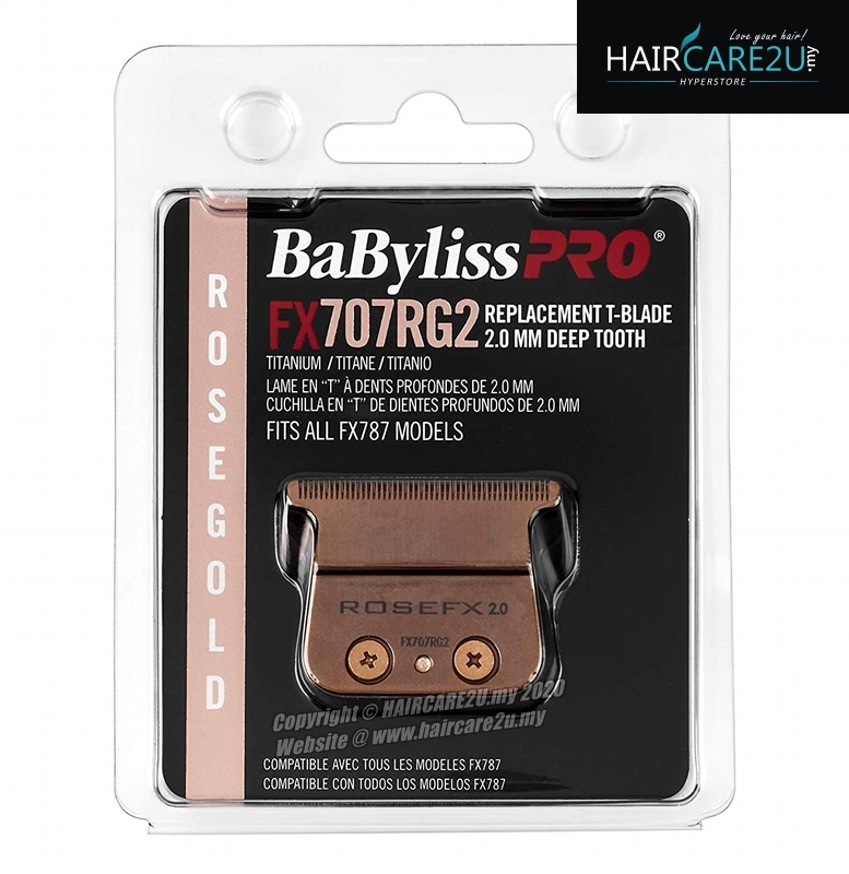BaByliss Pro Rose Gold Titanium 2.0mm Deep Tooth T-Blade #FX707RG2