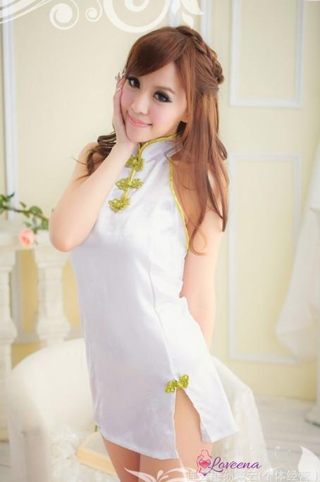 Backless Sexy CheongSam Costume Cosplay Lingerie L4015