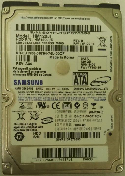 Samsung 120GB SATA 2.5 PCB FW YF100-18 BF41-00105A HM120JI HM120JI