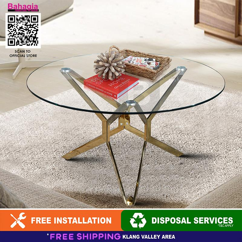 BAHAGIA Round Glass Top Table
