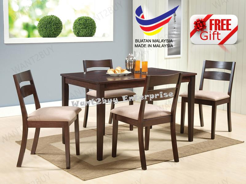 BAHAMAS 4 Wood Chair 1 Square Table Solid Dining Set