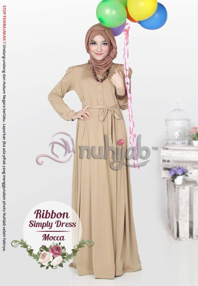 Baju Dress Jubah Muslimah Ribbon Simply Dress Rsd Coklat Xl