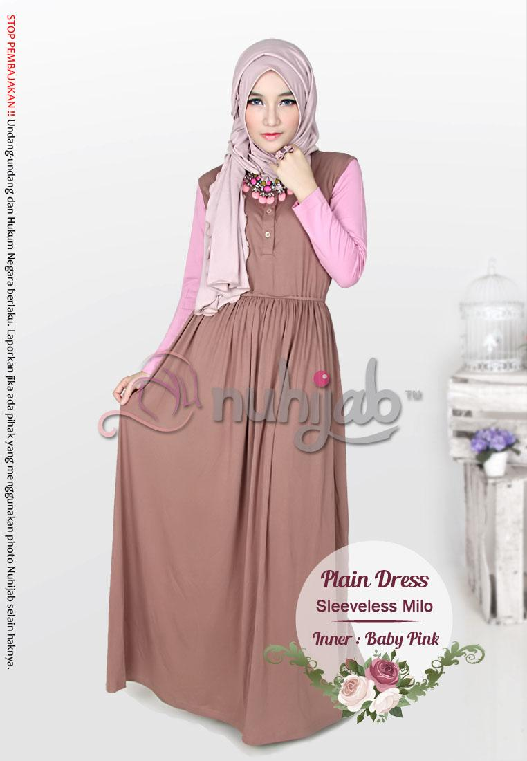BAJU JUBAH DRESS MUSLIMAH PLAIN DRESS SLEEVELESS XL