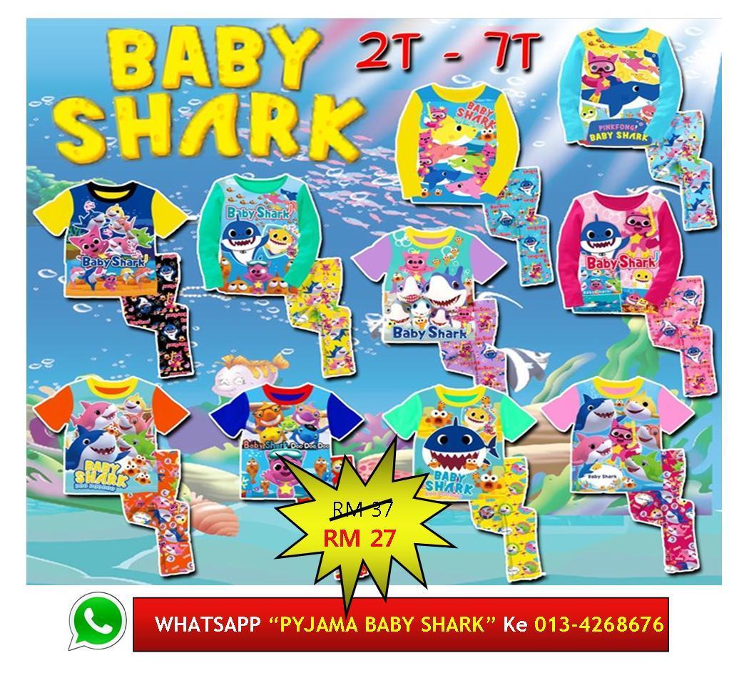 Baju Tidur Utk Kanak Baby Shark Kids Pyjamas