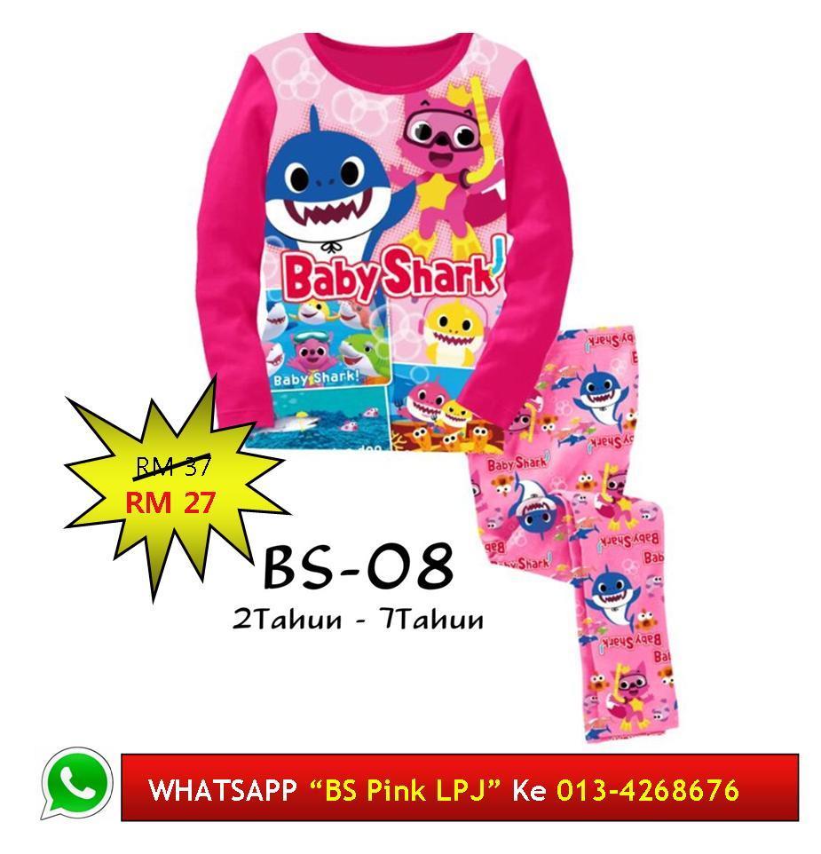 Baju Tidur Utk Kanak Perempuan Baby Shark Kids Pyjamas