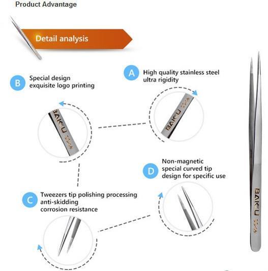 BAKU V9 Ultra Fine Non Skid Precision Stainless Steel Tweezer