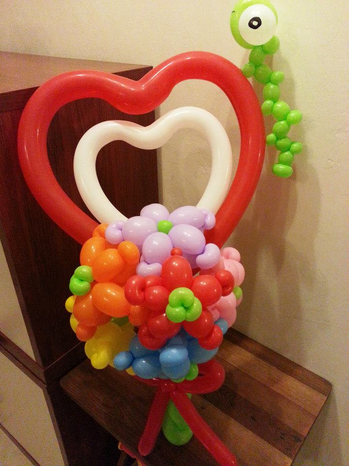 BALLOON FLOWER BOUQUET WITH HEART - V (end 3/3/2016 5:39 PM)