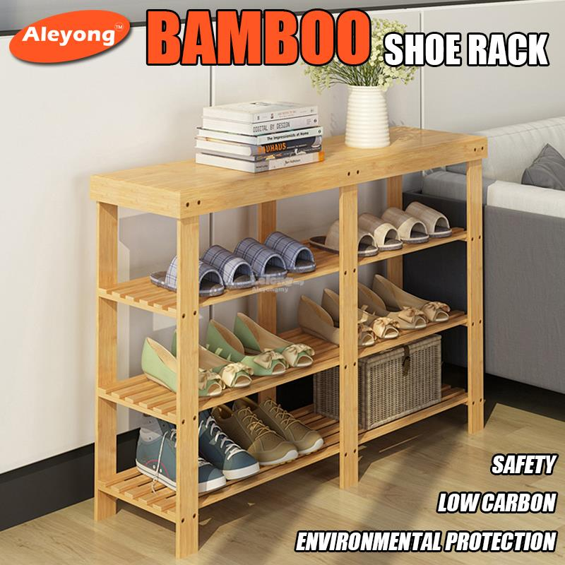 Bamboo shoes shelf simple 2/3/4 layers shoe cabinet change shoe bench